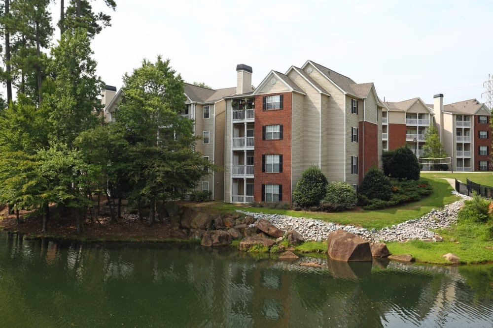 Apartments next to a pond at Broad River Trace in Columbia, South Carolina.