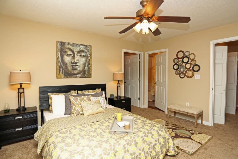 Bedroom with a private bathroom at Broad River Trace in Columbia, South Carolina.