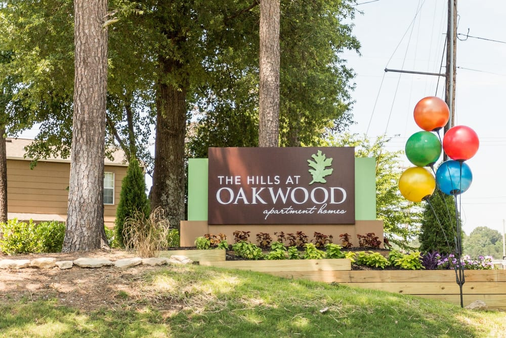 Exterior sign with balloons at The Hills at Oakwood in Chattanooga, Tennessee