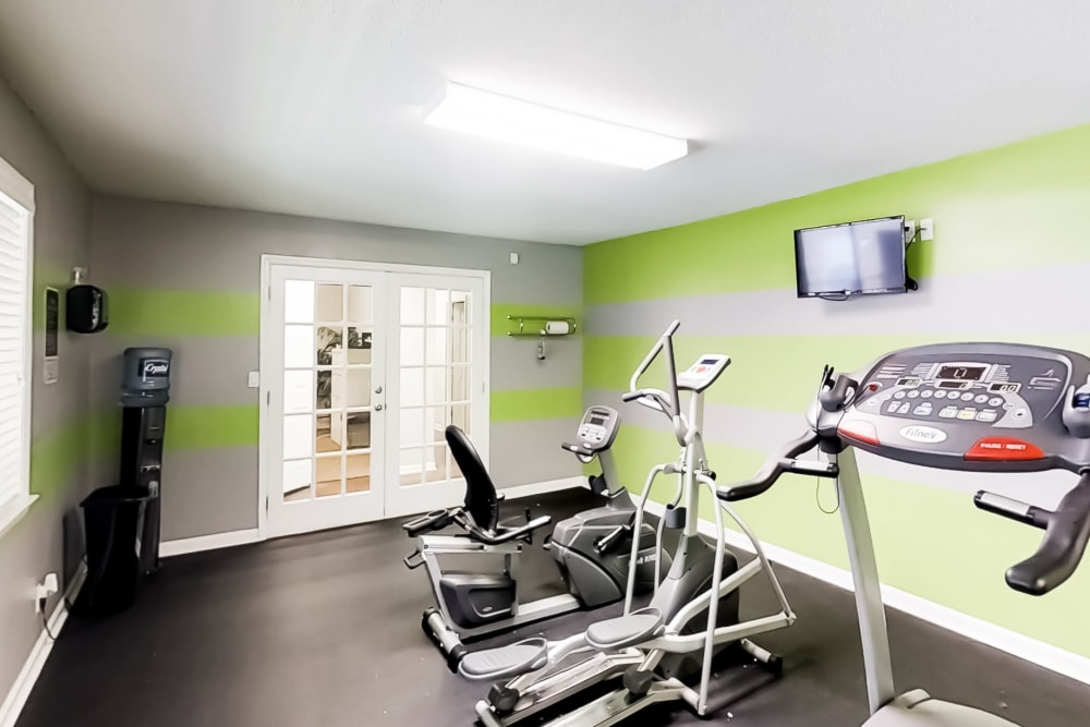 Fitness center with green walls at The Hills at Oakwood in Chattanooga, Tennessee