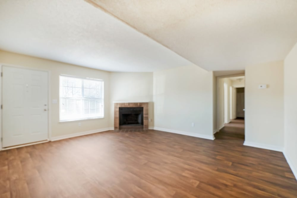 Huge open living area with hard wood floors at The Hills at Oakwood in Chattanooga, Tennessee