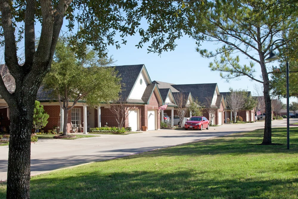 Cottage exteriors at Village on the Park Steeplechase in Houston, Texas