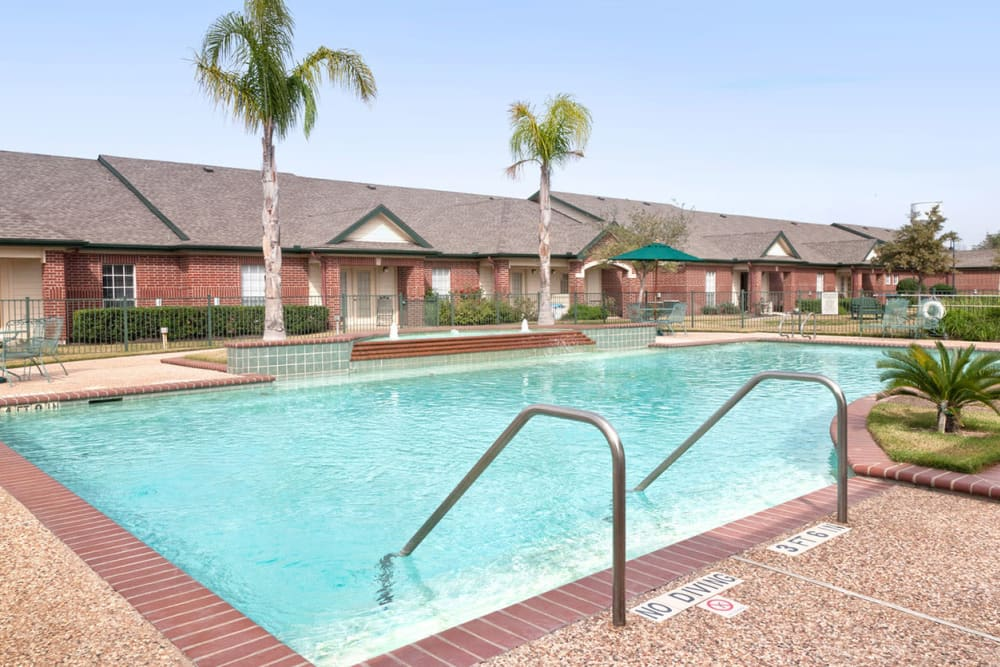 The community pool at Village on the Park Steeplechase in Houston, Texas