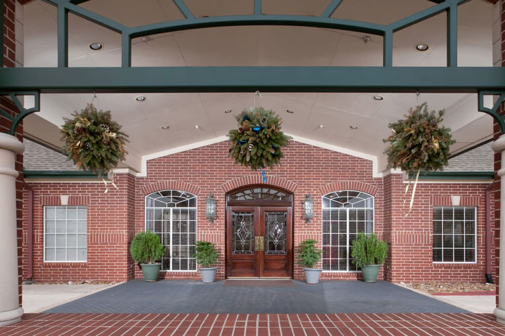 The main entrance at Village on the Park Steeplechase in Houston, Texas