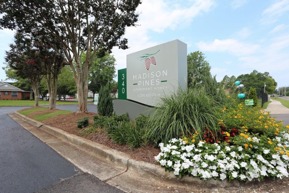 Memorial sign at Madison Pines in Madison, Alabama
