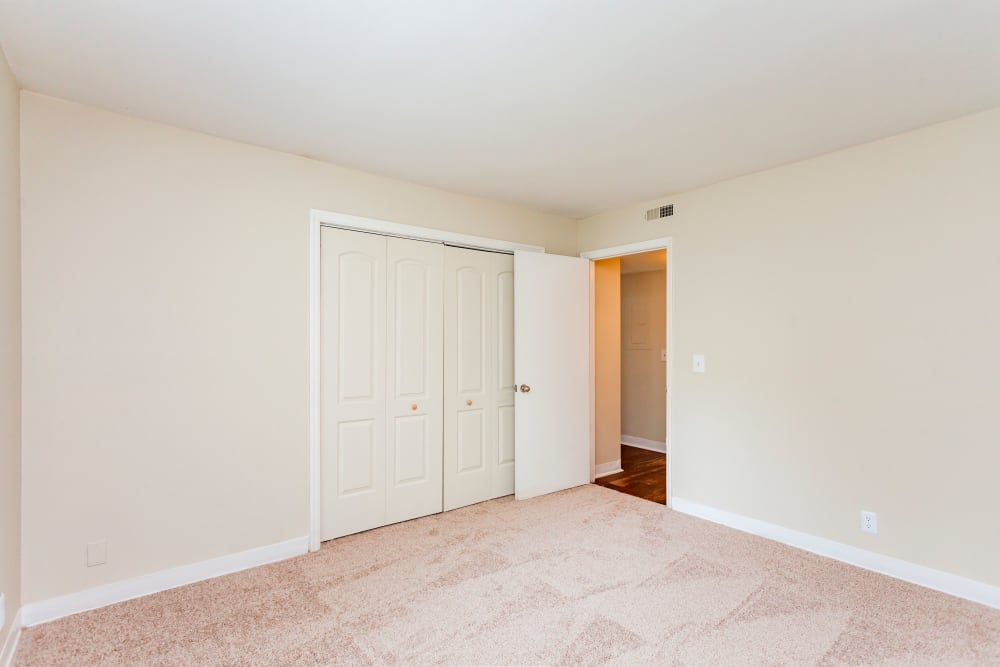 Spacious bedroom with carpet at Southwood Apartments in Nashville, Tennessee