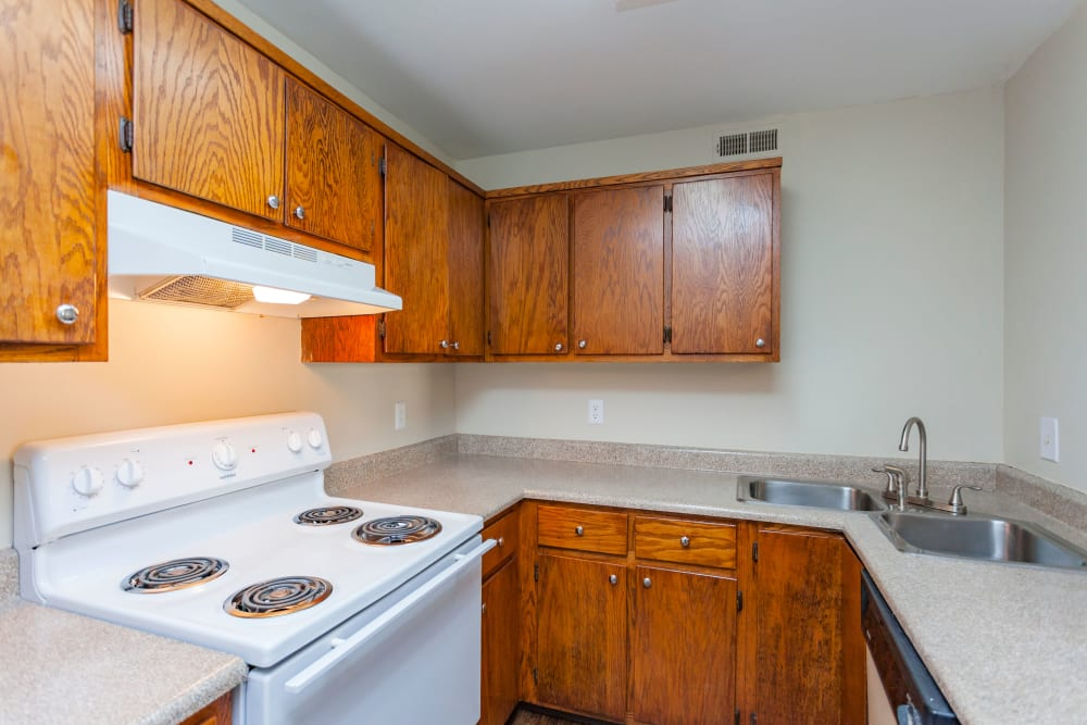 Kitchen with white appliances at Southwood Apartments in Nashville, Tennessee
