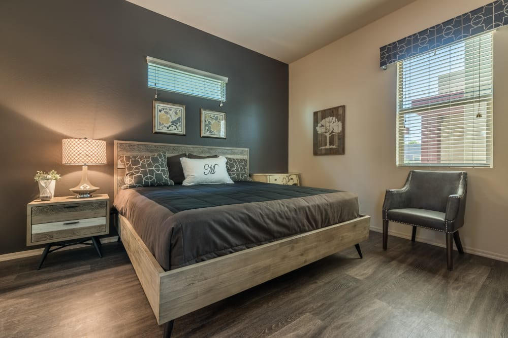 Bedroom with modern design at Avilla Grace in Chandler AZ