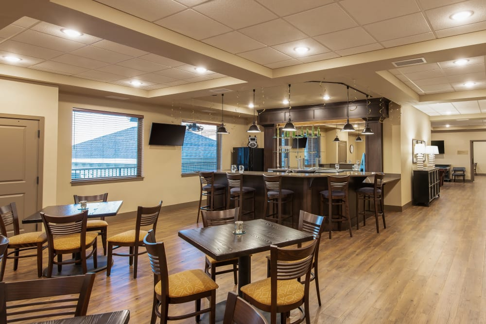 Resident pub and dining area at Affinity at Ramsey in Ramsey, Minnesota.
