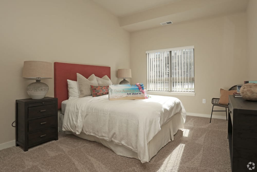 Model resident bedroom at Affinity at Ramsey in Ramsey, Minnesota
