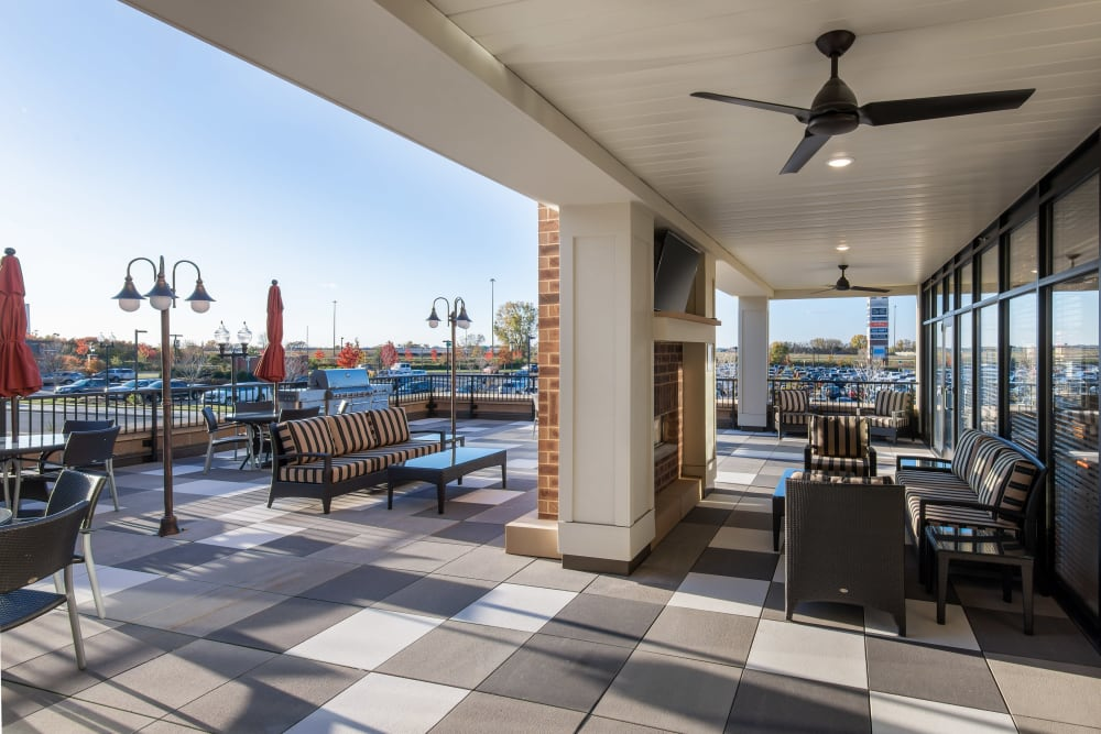 Large resident patio at Affinity at Ramsey in Ramsey, Minnesota.