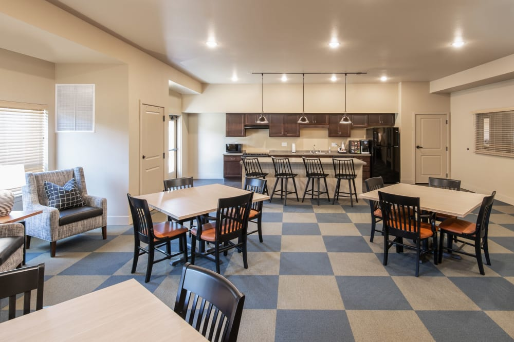Resident community kitchen at Affinity at Ramsey in Ramsey, Minnesota.