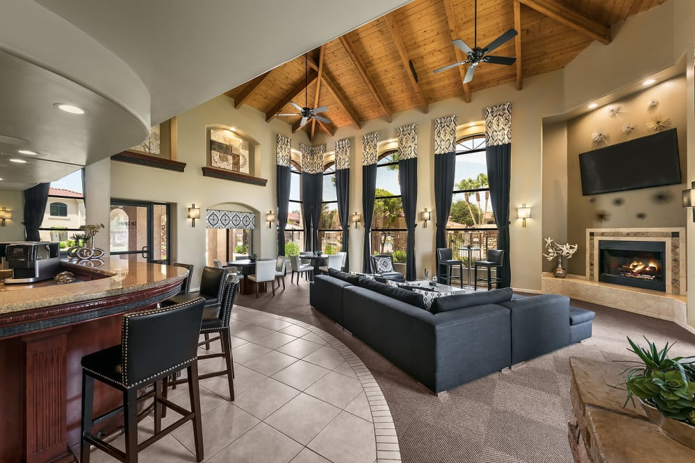Contemporary decor in the resident clubhouse at San Cervantes in Chandler, Arizona