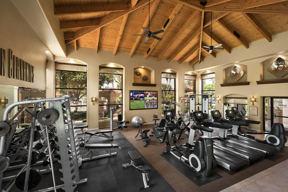 Spacious fitness center at San Cervantes in Chandler, Arizona