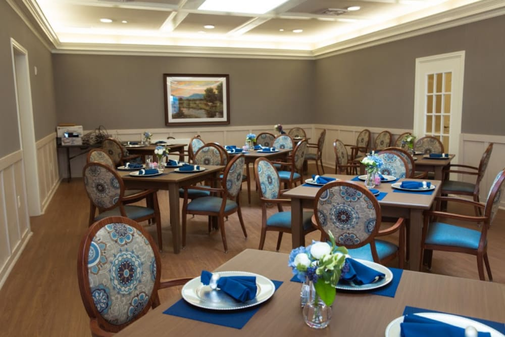 The dining room at The Pearl at Fort Mill in Fort Mill, South Carolina
