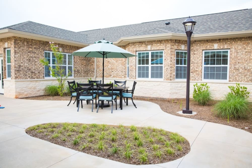 A patio area at The Pearl at Fort Mill in Fort Mill, South Carolina