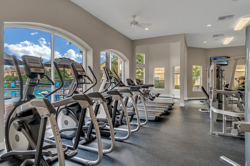 Fitness center with large windows at Palms at World Gateway in Orlando, Florida