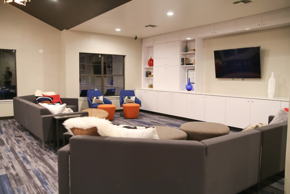 Movie theater in the clubhouse at Slate Creek Apartments in Roseville, California