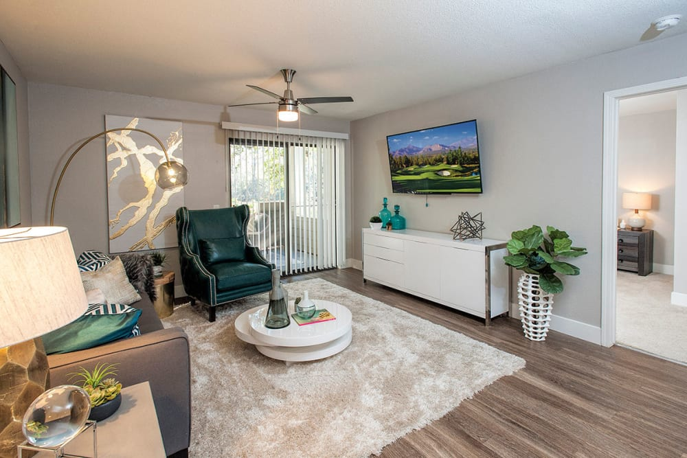 Well-decorated model home's living area at Slate Creek Apartments in Roseville, California