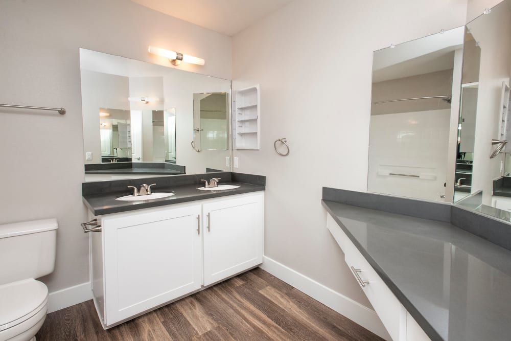 Quartz countertops in a model home's bathroom at Slate Creek Apartments in Roseville, California