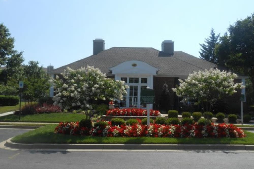 Front entrance to The Reserve at Ballenger Creek Apartments in Frederick, Maryland