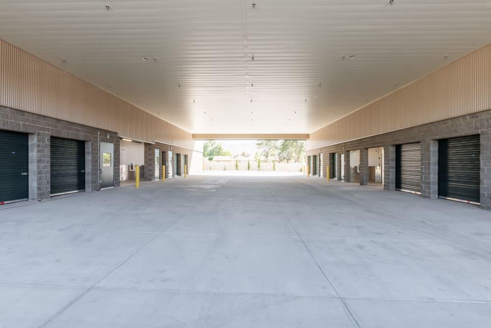 A large, open driveway at Cubes Self Storage in Draper, Utah