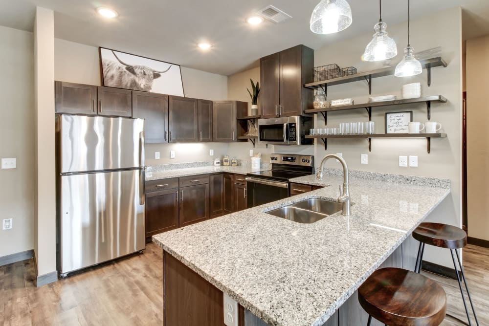 Beautiful Kitchen at Timnath Trail at Riverbend Apartment Homes in Timnath, Colorado