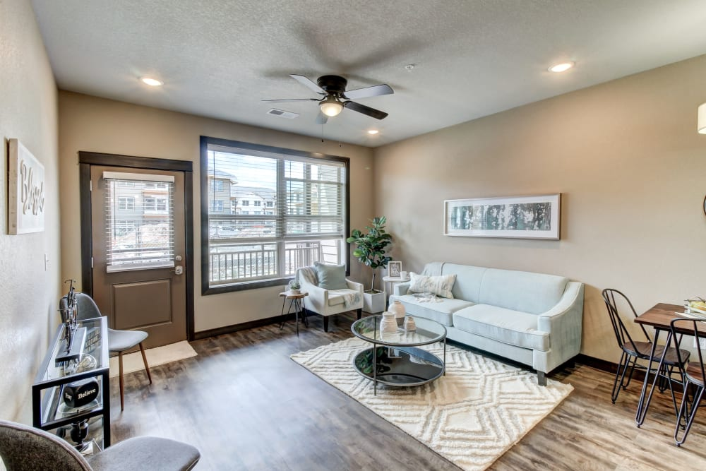 Beautiful Living Room at Timnath Trail at Riverbend Apartment Homes in Timnath, Colorado