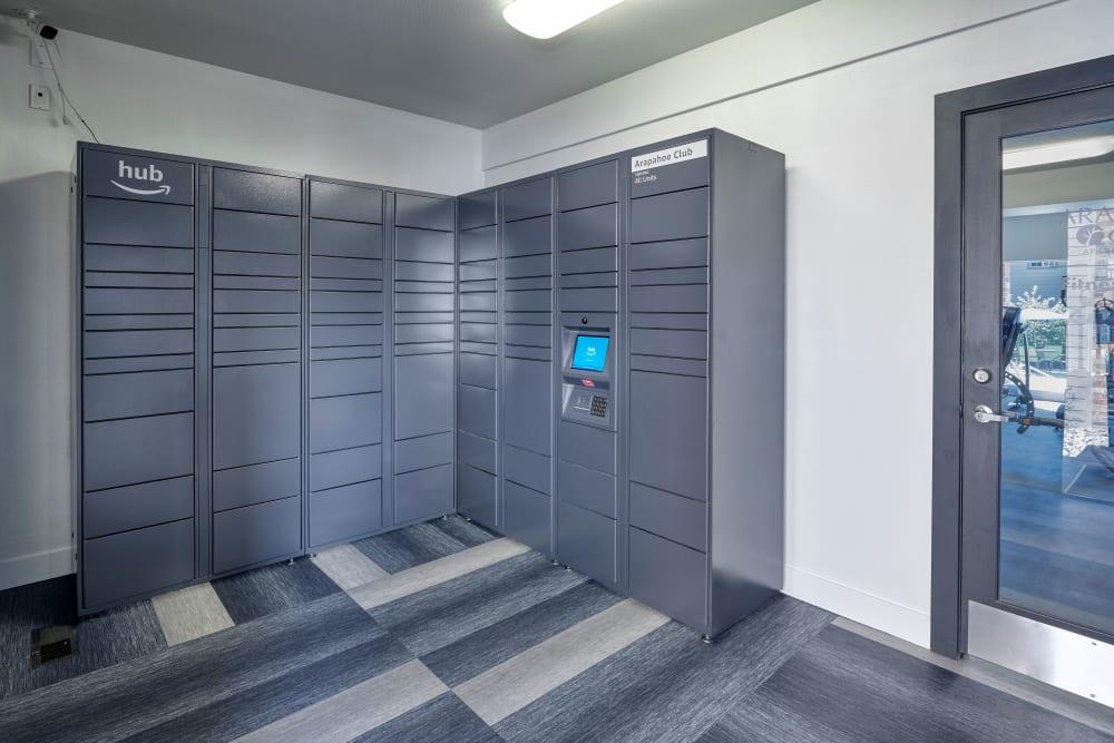 Storage lockers at Arapahoe Club Apartments in Denver, Colorado