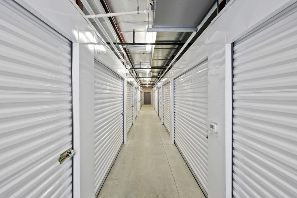 Interior row of storage units at Global Self Storage in Bolingbrook, Illinois