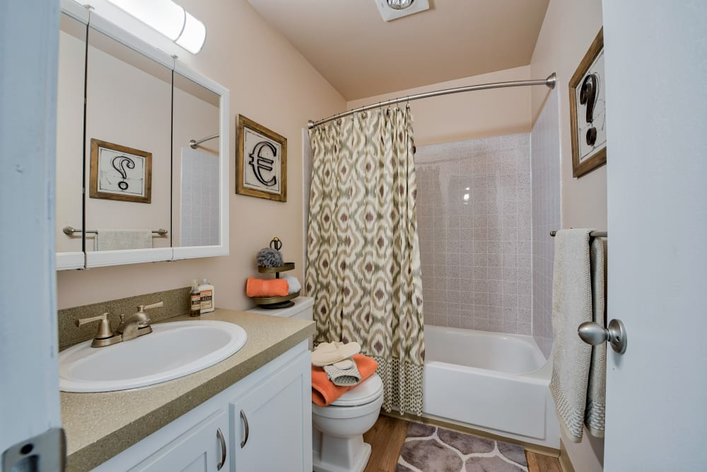 Bathroom at Lakeside Landing Apartments in Tacoma, Washington