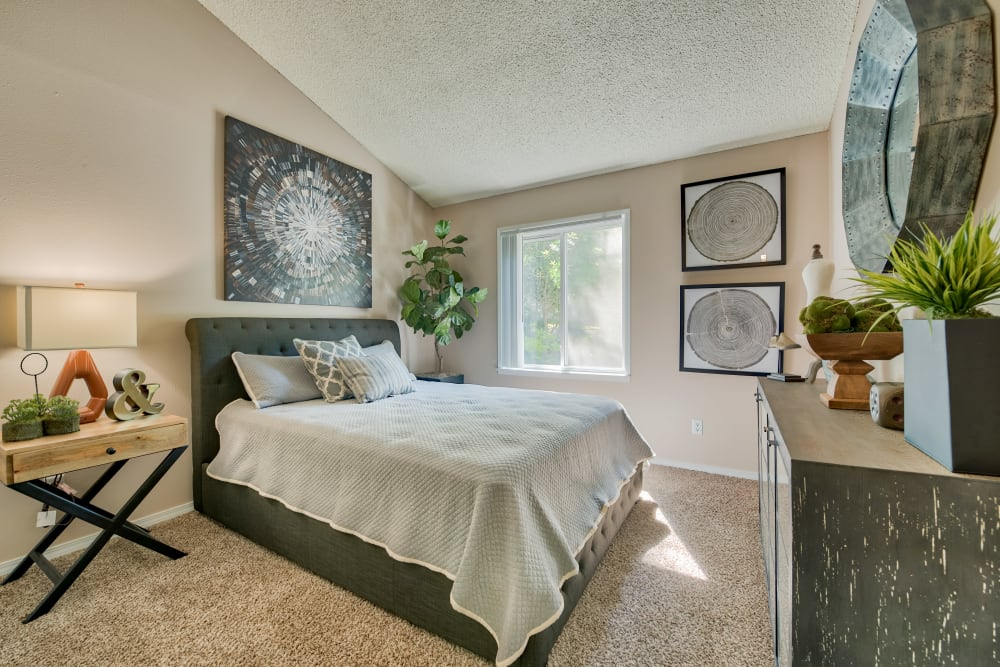 Bedroom at Lakeside Landing Apartments in Tacoma, Washington