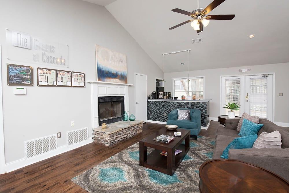 Beautiful living room at The Greens at Cascade in Atlanta, Georgia