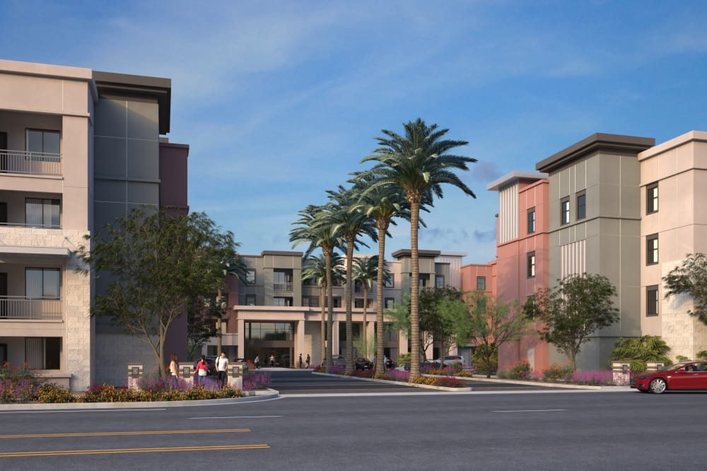 Rendering of the front entry of The District at Chandler in Chandler, Arizona