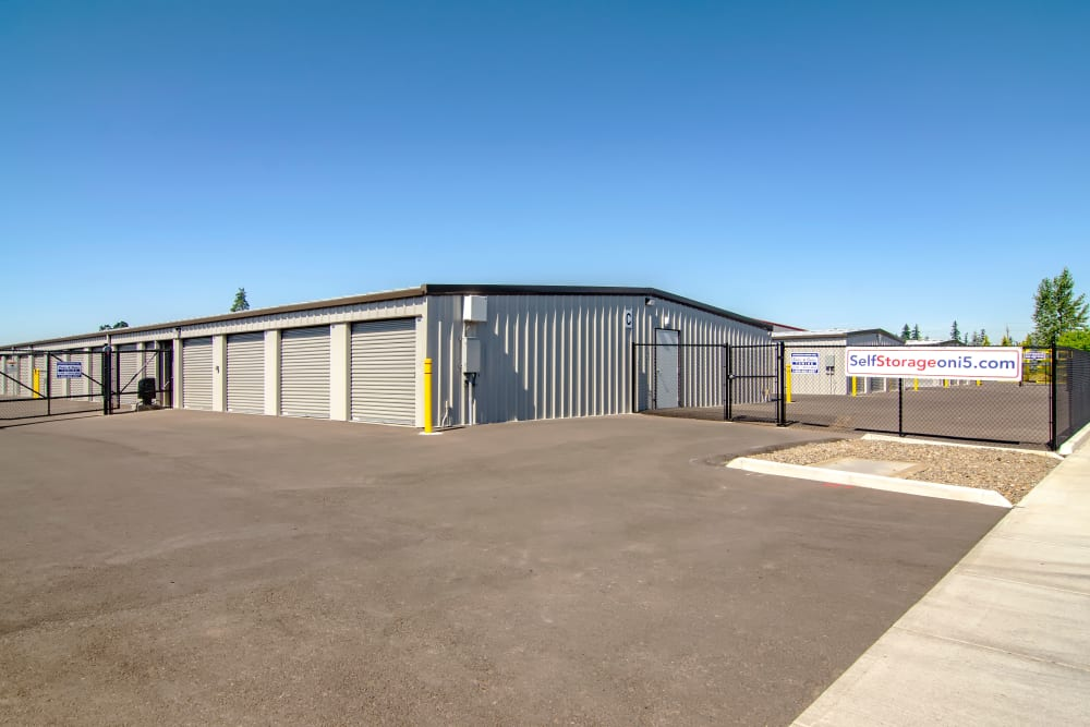 The gate at Oregon RV & Storage in Hubbard, Oregon