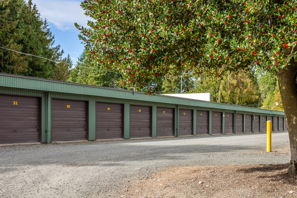 Variety of storage unit sizes at Bainbridge North Storage in Bainbridge Island, Washington