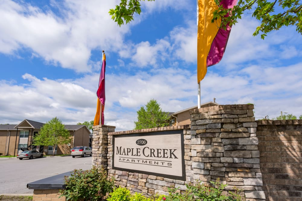 Memorial sign at Maple Creek Apartments in Nashville, Tennessee