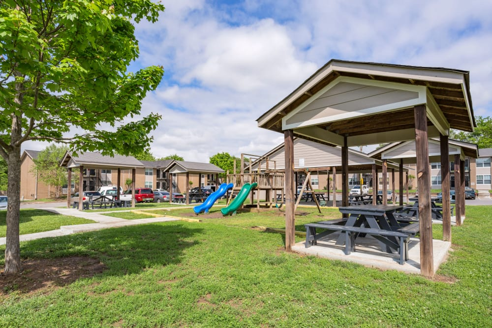 Playground with picnic seating at Maple Creek in Nashville, Tennessee