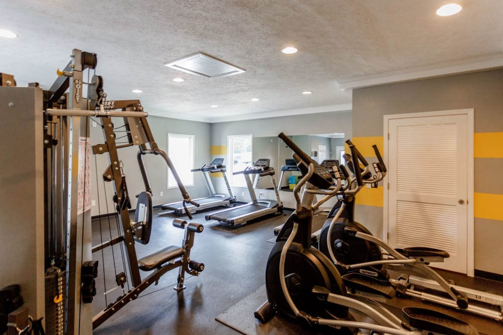 Large fitness center at The Village at Crestview in Madison, Tennessee
