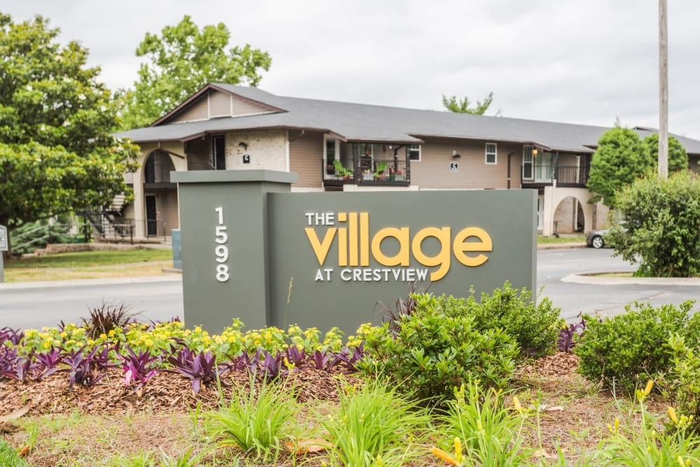 The Village at Crestview sign in Madison, Tennessee