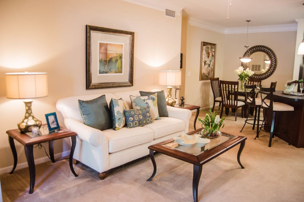 Spacious, bright living room at Lullwater at Saluda Pointe in Lexington, South Carolina