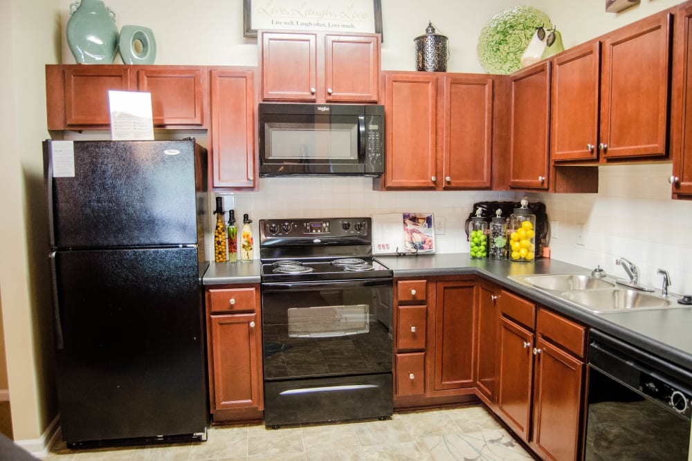 Fully equipped, bright kitchen at Lullwater at Saluda Pointe in Lexington, South Carolina