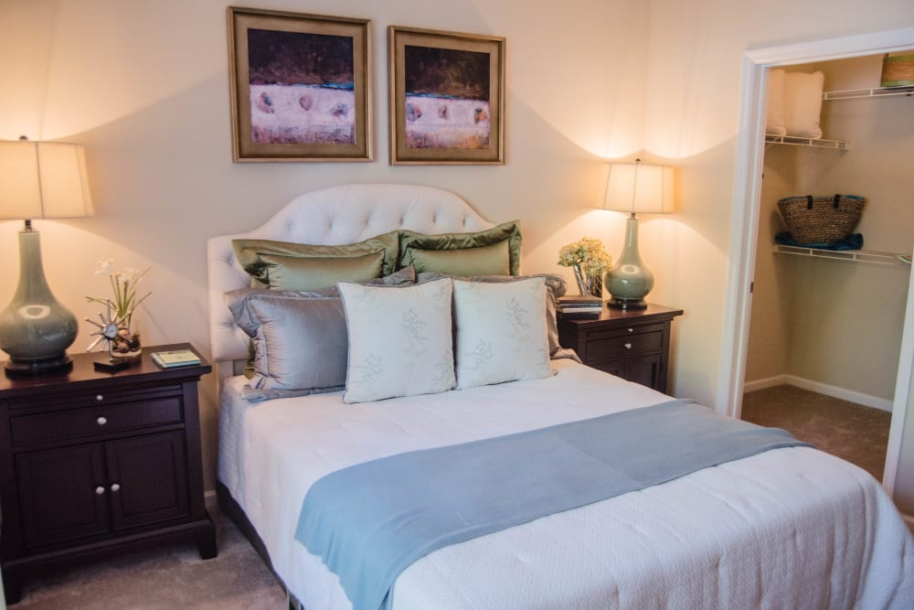 Bedroom with walk-in closet at Lullwater at Saluda Pointe in Lexington, South Carolina