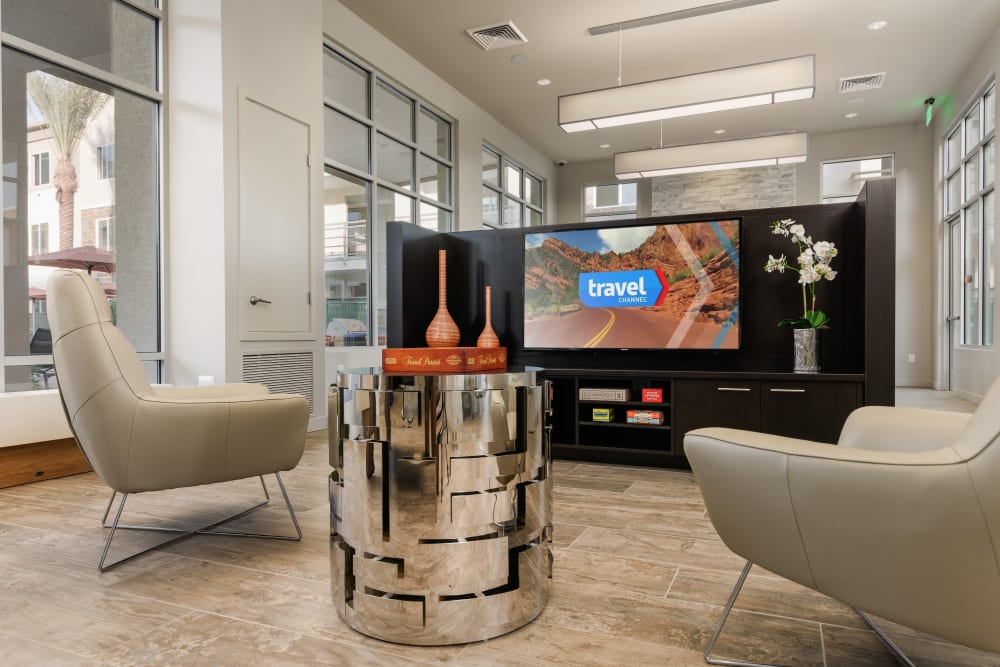 Contemporary decor in resident clubhouse at Morrison Chandler in Chandler, Arizona