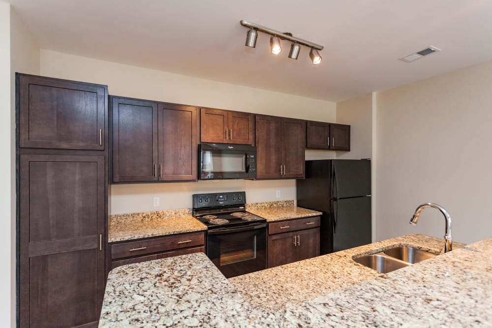 Kitchen with wooden cabinets at Madison Crest in Madison, Tennessee