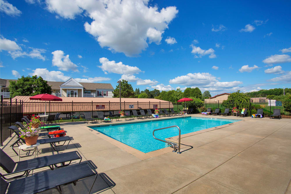 Sparkling resident pool at 1820 South Apartments in Mount Pleasant, Michigan.