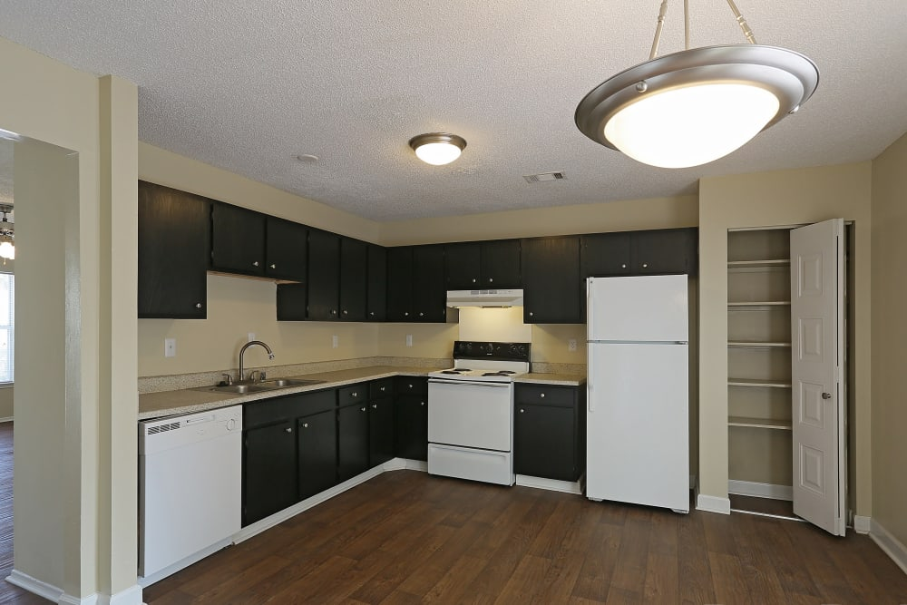 Kitchen and living space at Madison Pines in Madison, Alabama