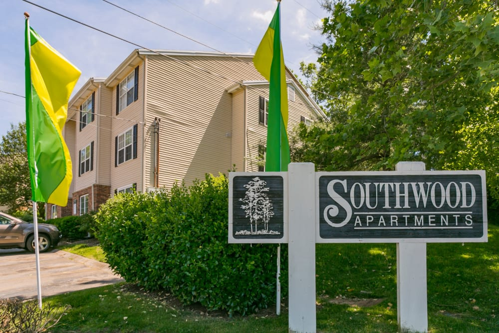 Exterior sign at Southwood Apartments in Nashville, Tennessee