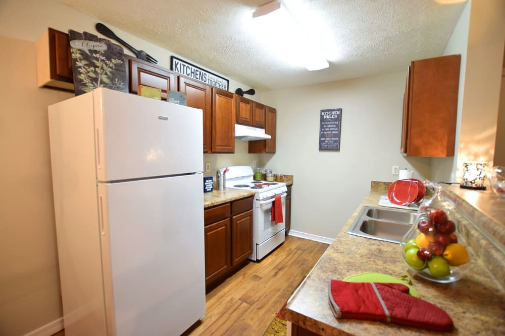 Well-equipped kitchens at Midsouth 301 in Jackson, Mississippi.