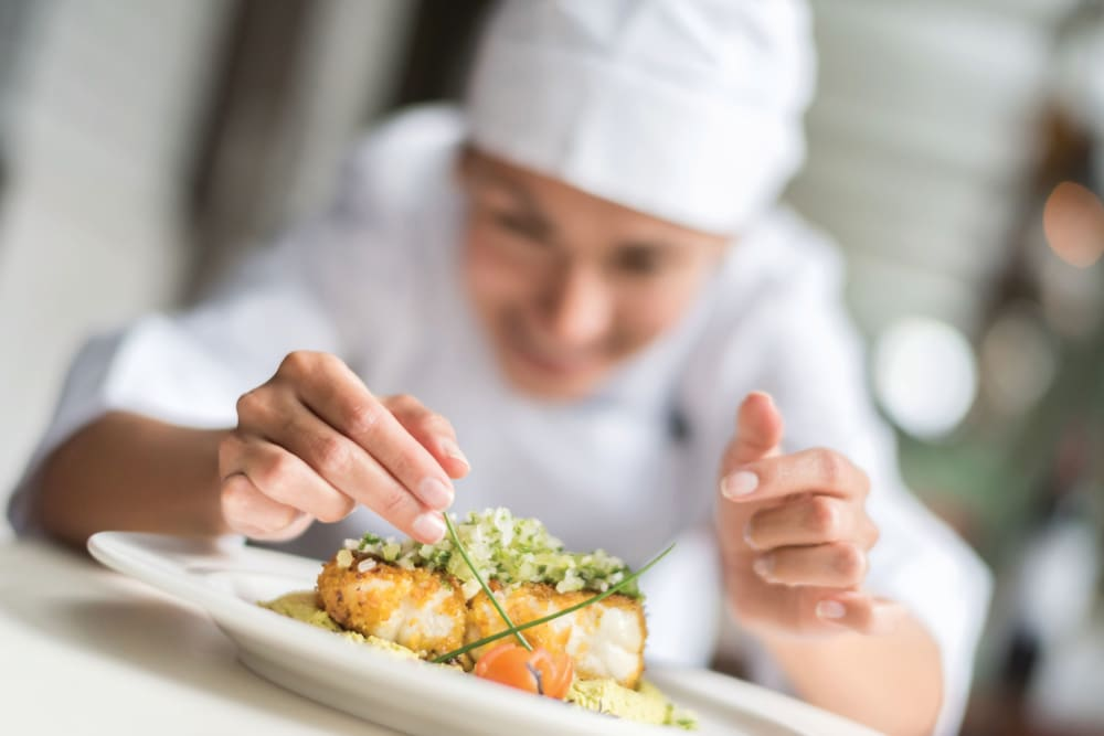 A chef preparing a meal at Clearwater at Rancharrah in Reno, Nevada
